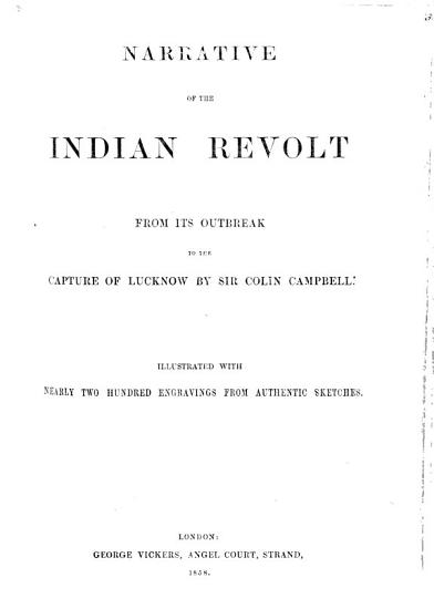 Narrative of the Indian Revolt  etc   Reprinted from the    Illustrated Times      PDF
