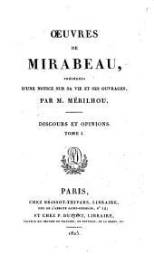 ŒUvres de Mirabeau: Discours et opinions