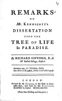 Remarks on Mr  Kennicott s Dissertation Upon the Tree of Life in Paradise PDF