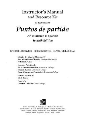 Instructor s Manual and Resource Kit to Accompany Puntos de Partida PDF