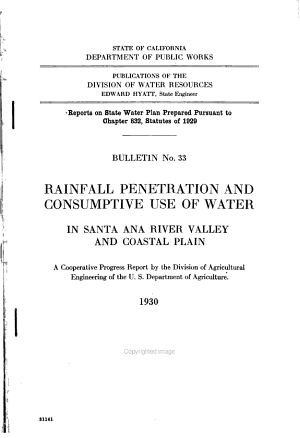 Rainfall Penetration and Consumptive Use of Water in Santa Ana River Valley and Coastal Plain