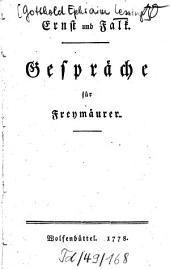 Ernst und Falk: Gespräche für Freymäurer. 1 . (1778). - 92 S.