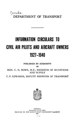Information Circulars to Civil Air Pilots and Aircraft Owners