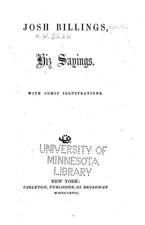 Josh Billings  Hiz Sayings PDF