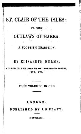 St  Clair of the Isles  or  The Outlaws of Barra PDF