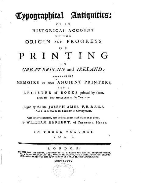Download Typographical Antiquities Book