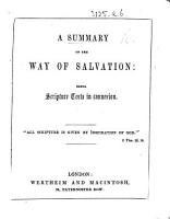 A Summary of the way of salvation  being Scripture texts in connection PDF