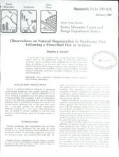 Observations on natural regeneration in ponderosa pine following a prescribed fire in Arizona