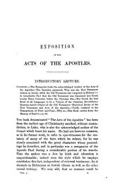 Exposition of the Acts of the Apostles: in a series of lectures