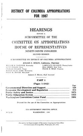District of Columbia appropriations for 1987 PDF