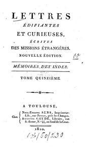 Lettres édifiantes et curieuses écrites des missions étrangères: Volume15