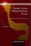 Dating Archaic Biblical Hebrew Poetry PDF