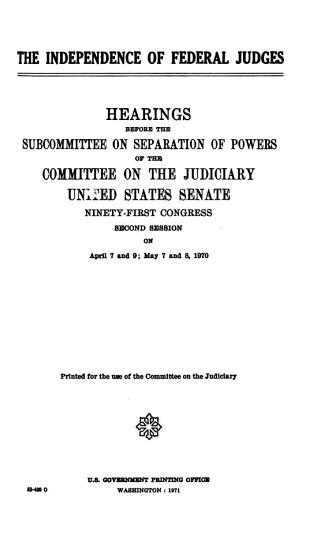 The Independence of Federal Judges PDF