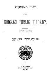 Finding List of the Chicago Public Library: Parts 1-9; Part 11