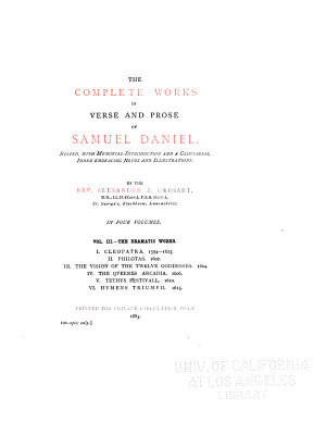 The Complete Works in Verse and Prose of Samuel Daniel