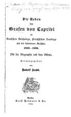 Die reden des grafen von Caprivi im deutschen Reichstage PDF