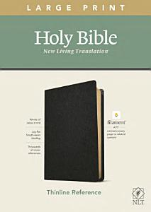 NLT Large Print Thinline Reference Bible  Filament Enabled Edition  Red Letter  Genuine Leather  Black  Book