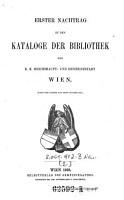 Erster Nachtrag zu dem Kataloge der Bibliothek der K  K  Reichshaupt  und Residenzstadt Wien PDF