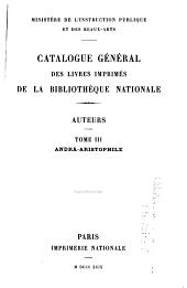 Catalogue général des livres imprimés de la Bibliothèque nationale: Auteurs...