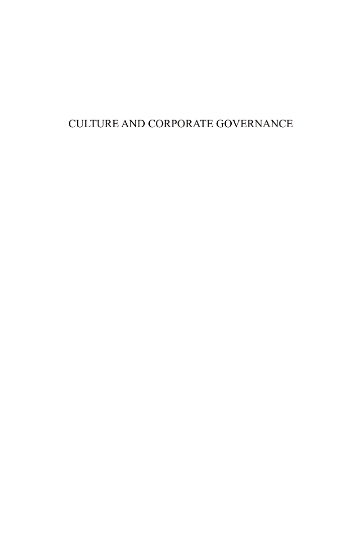 Culture and Corporate Governance