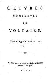 Œuvres complètes de Voltaire: Volume59