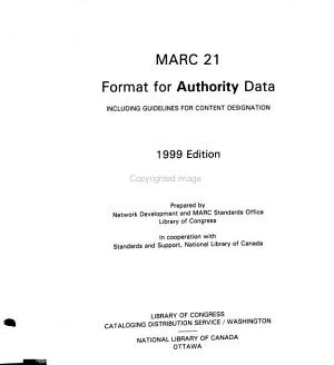 MARC 21 Format for Authority Data PDF