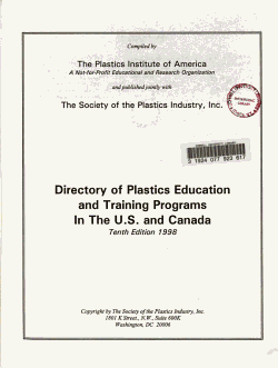 Directory of Plastics Education and Training Programs in the U S  and Canada PDF