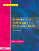 Learning to Teach Mathematics in the Secondary School PDF