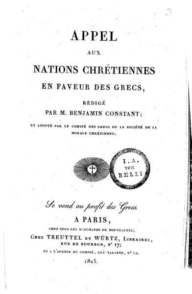 Appel aux Nations chr  tiens en faveur des Grecs
