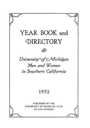 Year Book and Directory  University of Michigan Men and Women in Southern California PDF