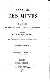 Annales des mines: ou recueil de mémoires sur l'exploitation des mines et sur les sciences et les arts qui s'y rattachent
