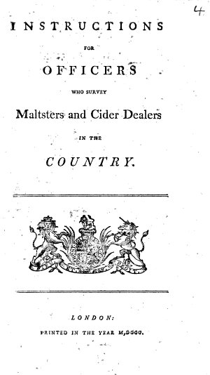Instructions for Officers who Survey Maltsters and Cider Dealers in the Country
