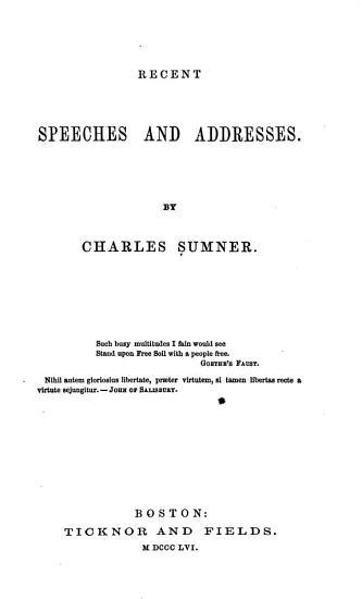 Recent Speeches and Addresses  1851 1855   PDF