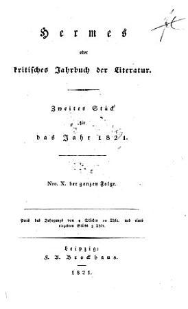 Hermes oder kritisches Jahrbuch der Literatur PDF