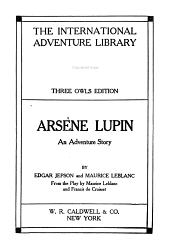 Arsène Lupin: An Adventure Story