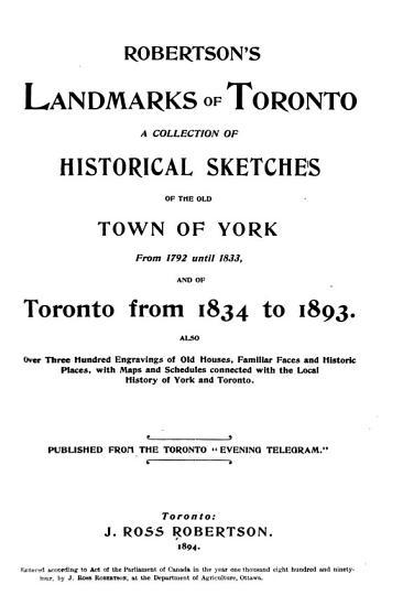 Robertson s Landmarks of Toronto PDF