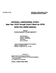 National Longitudinal Study  Base Year  1972  Through Fourth Follow up  1979   Includes Appendix A through Appendix C PDF
