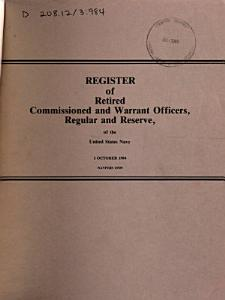 Register of Retired Commissioned and Warrant Officers  Regular and Reserve  of the United States Navy