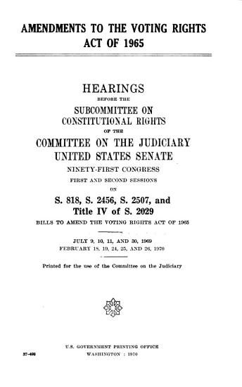 Amendments to the Voting Rights Act of 1965 PDF