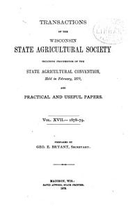 Transactions of the Wisconsin State Agricultural Society Book