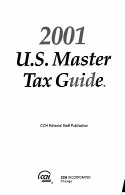 2001 U  S  Master Tax Guide PDF