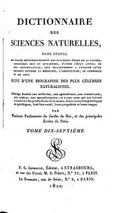 Dictionnaire des sciences naturelles: Volume17