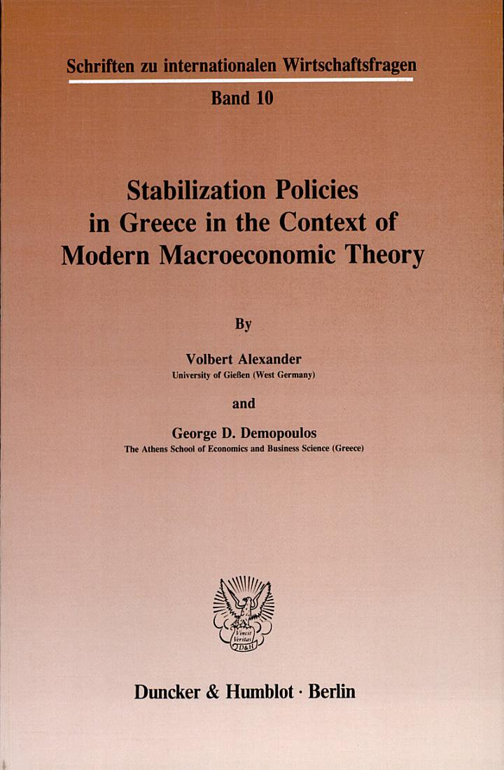 Stabilization policies in Greece in the context of modern macroeconomic theory