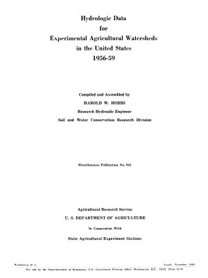 Hydrologic Data for Experimental Agricultural Watersheds in the United States  1956 59 PDF