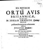 Ex physicis, de ortu avis Britannicae