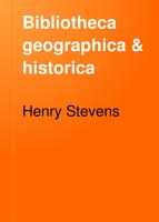 Bibliotheca Geographica   Historica PDF