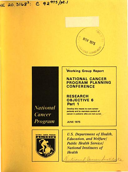 Working Group Report  National Cancer Program Planning Conference  Research Objective 6 PDF