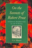 On the Sonnets of Robert Frost PDF