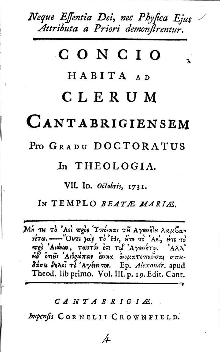 Concio Habita AD Clerum Cantabrigiensem Pro Gradu Doctoratus in Theologia VII. ID. Octobris 1731. In Templo Beatæ Mariæ