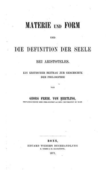 Materie und Form und die Definition der Seele bei Aristoteles